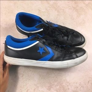 Converse pro blaze leather black and blue sneakers